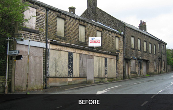 Conversion of derelict retail premises into mixed use.