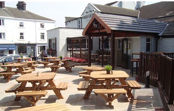 Pub sun terrace and beer garden